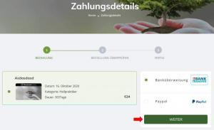 Zahlungsmethode ausgewählt
