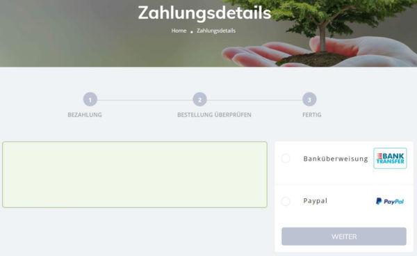 Eintrag-Zahlungsdetails